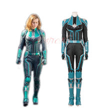 Cafiona Sexy Jumpsuits Captain Marvel Carol Danvers Super Hero Ms. Marvel Cosplay Costume High Quality(China)