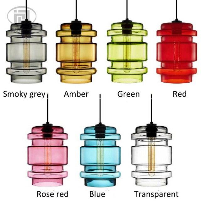 Américain Vintage poisson bol verre suspension lampe couleur verre abat-jour suspension pour salon Restaurants café décor