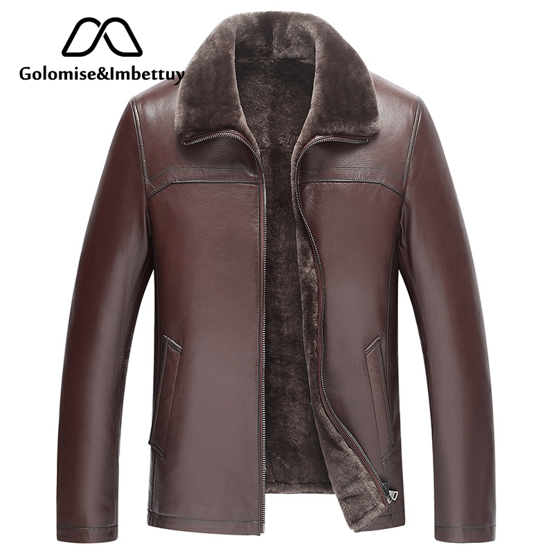 Golomise&Imbettuy Genuine Sheepskin Leather Jacket Natural Lamb Fur Liner Parka Coat Men Real Leather Shearling Fur Jacket/Coat мужские кожанные куртки с косой молнией