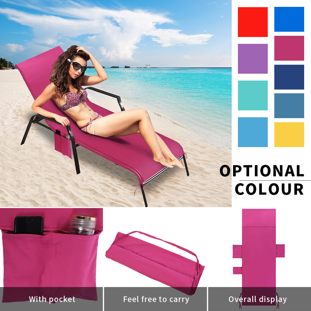 214.5*75cm Holiday Beach Lounge Chair Cover Towel Summer Cool Bed Garden Beach Towel Sunbath Lounger Chair Mat With Large Pocket(China)