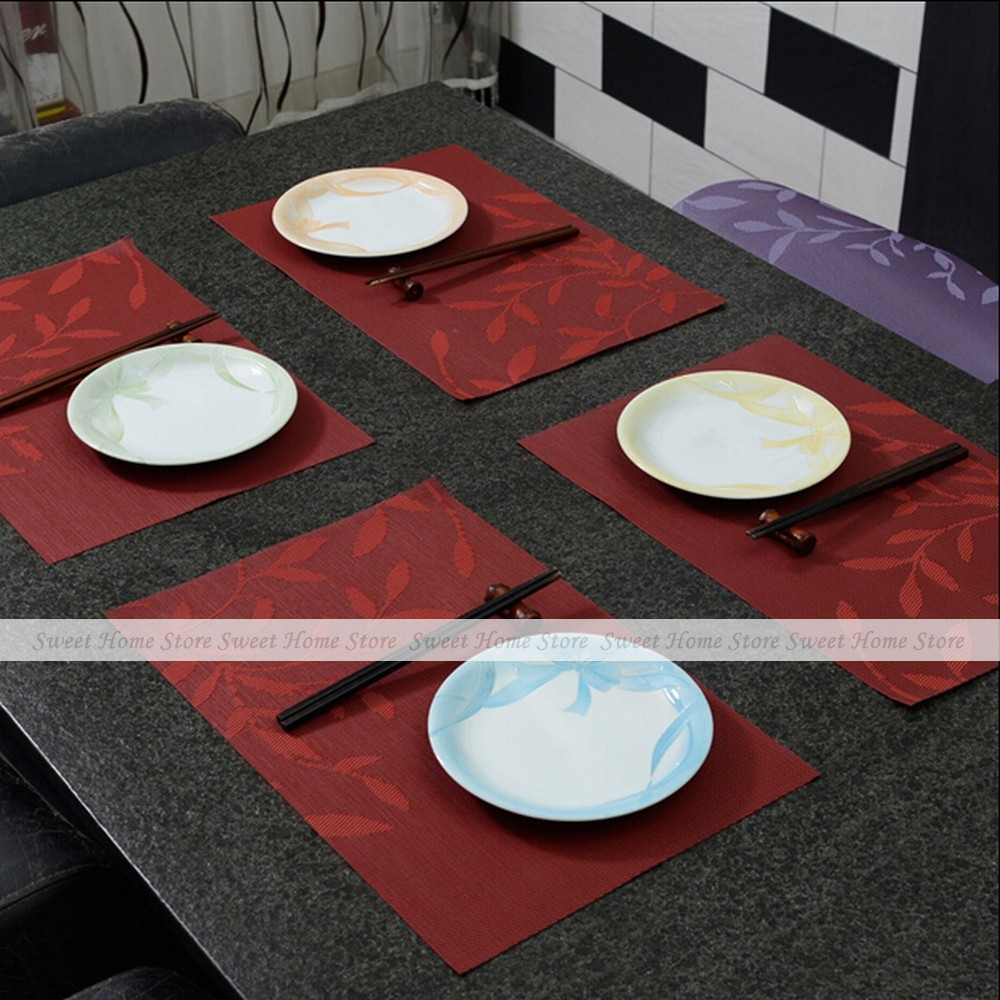 Marvelous Exceptional Dining Room Table Mats Part   6: Yazi 4pcs Leaves Wine Red PVC  Placemats