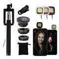 Kit de lentes da câmera do telefone lente olho de peixe macro wide angle microscópio selfie vara monopé selfie flash luz de preenchimento para telefone celular
