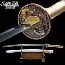 All handmade Katana sword Japanese Samurai sword 1060 Carbon Pisces Tsuba White sheath Home decor Favorites Decorations