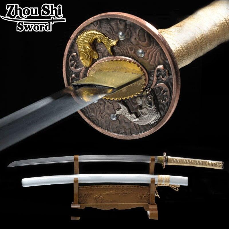 Todo hecho a mano katana espada samurai japonés espada 1060 carbono Piscis tsuba blanco vaina decoración favoritos Decoración