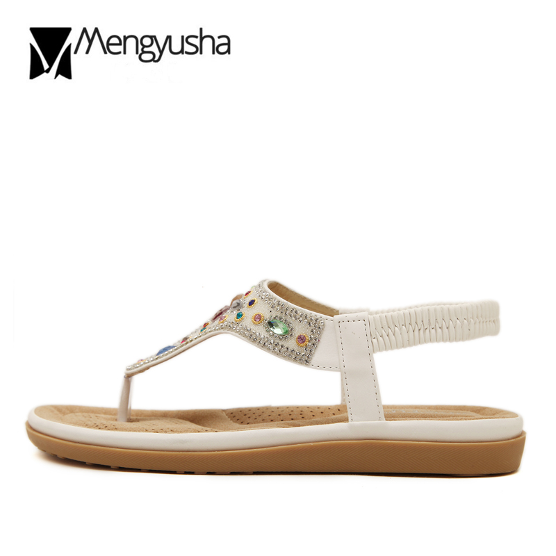 b4fb1a748aad Bohemia rhinestone Sandals Woman Crystal flipflops Pearl glitter Elastic  belt summer shoes colorful rivet clip toe sandals mujer-in Low Heels from  Shoes on ...