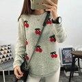 Otoño Invierno Mujeres Casual Manga Larga Suéter Sexy Cereza Estrellas Pescado Carta Suéter de Cachemira de Punto de Navidad Jumper Tops