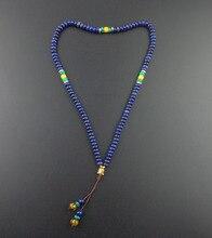 108 lapis lazuli joyería yoga meditación Oración mala de los granos con cabeza de Buda Collar de perlas artesanales hechos a mano