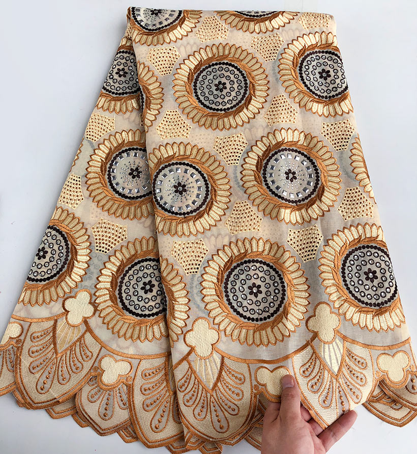Wise choice high Quality embroidery African Swiss voile lace soft cotton Nigeria garment sewing cloth with stones 5yardsWise choice high Quality embroidery African Swiss voile lace soft cotton Nigeria garment sewing cloth with stones 5yards