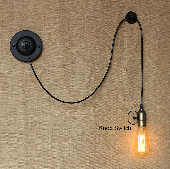 Bedside Reading Studying DIY art decor industrial wall lights luminaire Knob Switch loft Wall sconces lighting