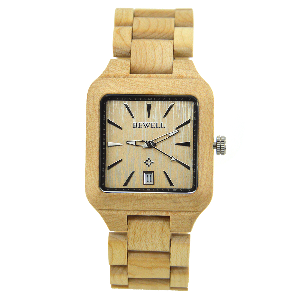 BEWELL Wooden Watch Unique Full Maple Wood Causal Quartz Men Watches Birthday Gift For Lovers relogio masculino 110A