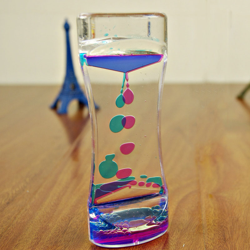 Floating Color Mix Illusion Timer Liquid Motion Visual Slim liquid Oil Acrylic Hourglass Timer Clock Ornament Desk TB Sa(China)