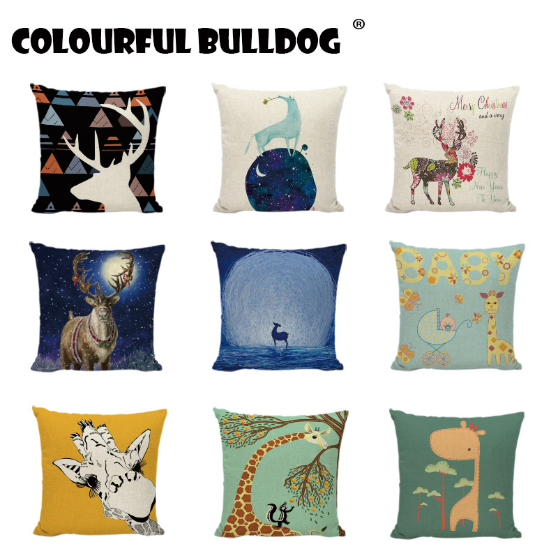 Funny Giraffe Throw Pillow Cases Christmas Birthday Gifts Squirrel Baby Room Printed Decor Childlike Linen Cotton Cushion Covers