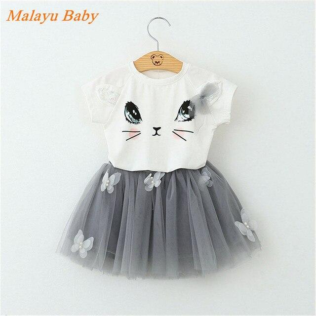 b33ad0a70 Malayu modelos Explosão Meninas Vestido Novo 2018 Roupas de Bebê Verão  Vestido Gatinho Dos Desenhos Animados