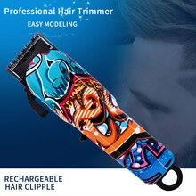 Máquina de cortar cabelo elétrica profissional máquina de corte intercambiáveis remoção do cabelo usb aparador barba barbeador cabelo dos homens ferramenta estilo