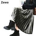 Zewo otoño invierno velvet metal de la manera faldas de las mujeres plisado sólido de cintura alta vintage casual falda larga 6 colores femeninos 2017