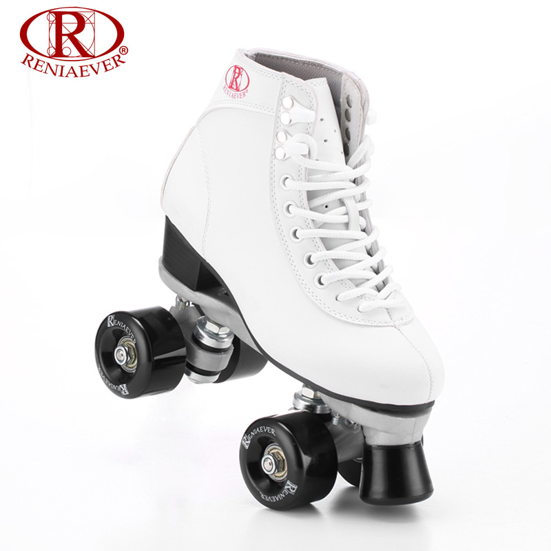 RENIAEVER Roller Skates Double Line Skates White Women Female Lady Adult With Black PU 4 Wheels Two line Skating Shoes Patines reniaever double roller skates skating shoe gift girls black wheels roller shoe figure skates white free shipping