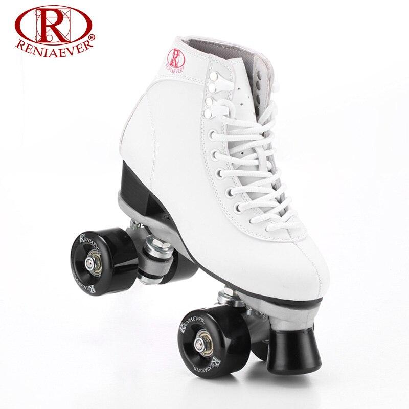 Prix pour Reniaever patins à roulettes double ligne patins blanc femmes dame femelle adulte Avec Noir PU 4 Roues Deux ligne De Patinage Chaussures Patines