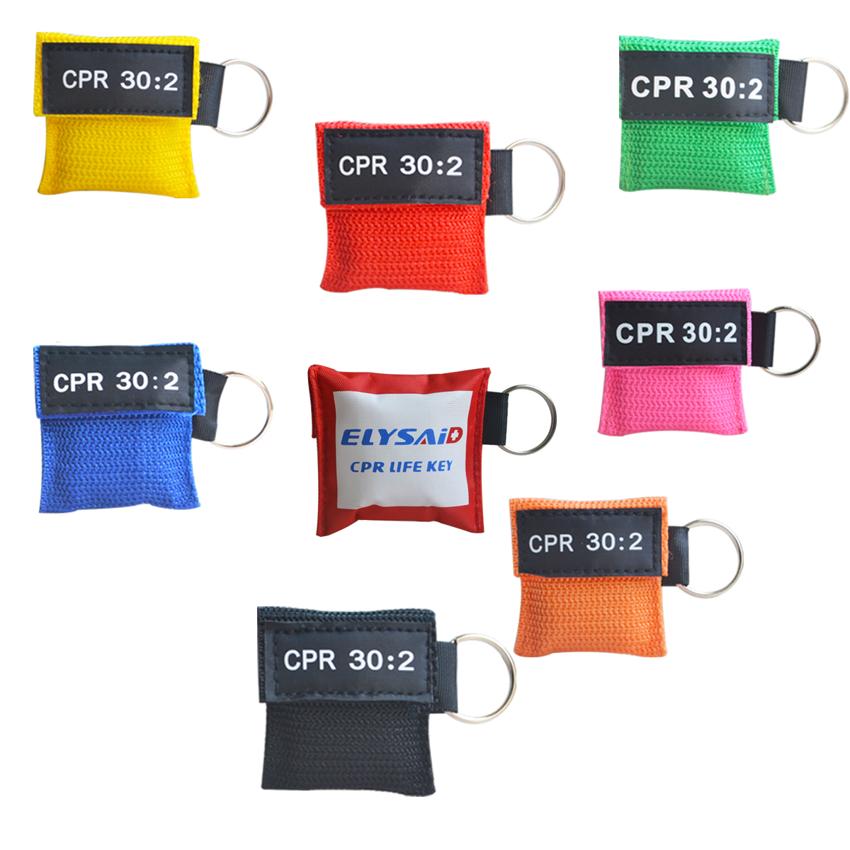 100Pcs Lot Optional Color CPR Resuscitator Mask CPR Face Shield Mouth to mouth Breathing Key Ring
