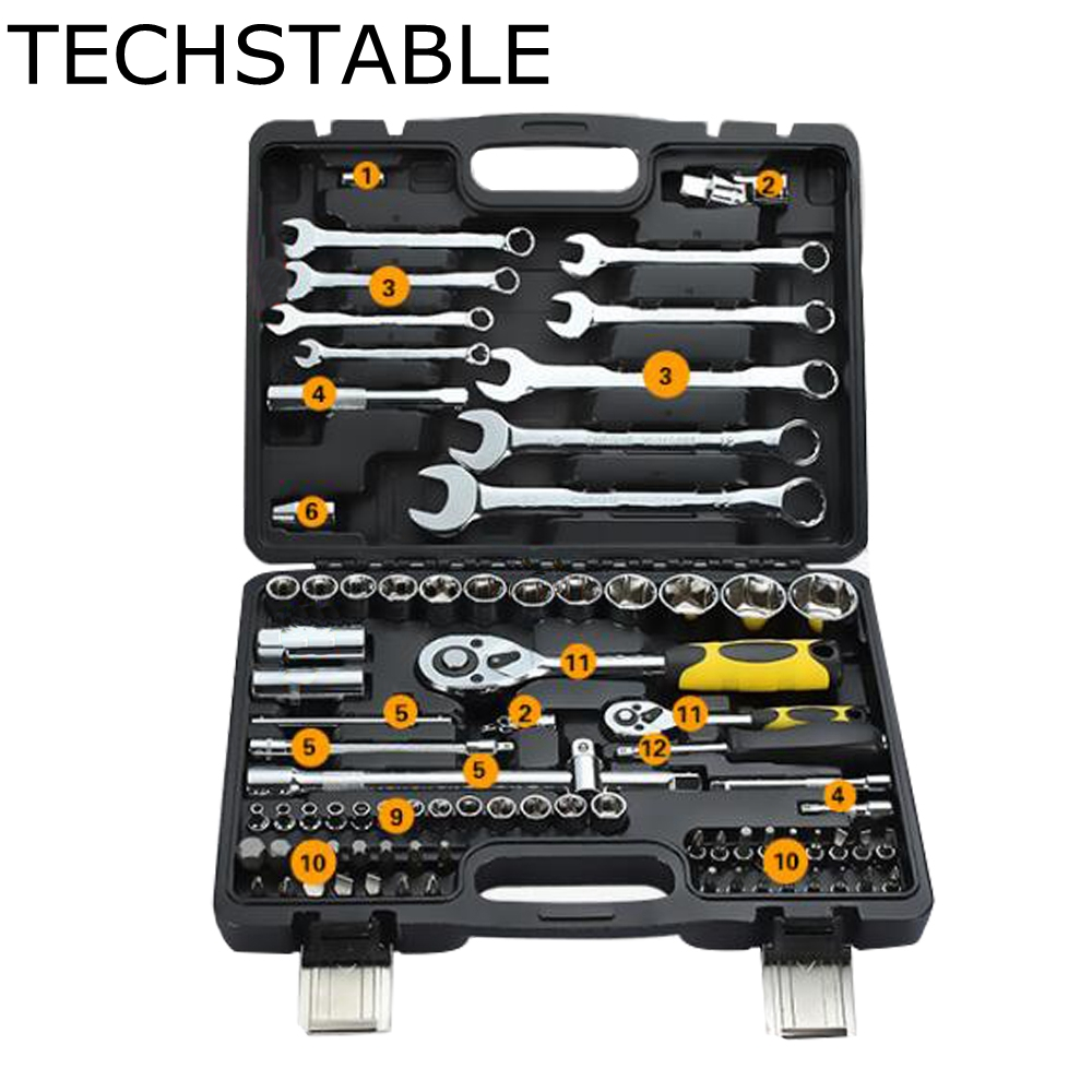 TECHSTABLE 82pcs Auto Repair Tool Set Car care combination ratchet wrench manual set of automotive hardware tools made in taiwan high quality pard 62pcs 3 8ratchet wrench set auto repair tool set screwdrivers heads hand tools combination