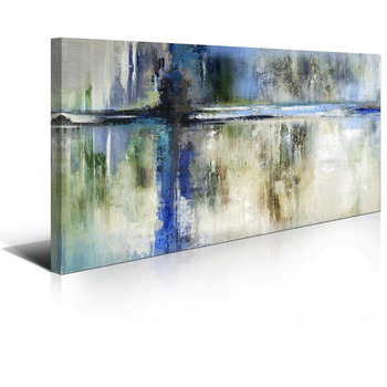 Orlco Art Canvas Hand painted Wall Art Abstract Picture Artwork Hang in Bedroom Office Home Decor Colorful Gray Art