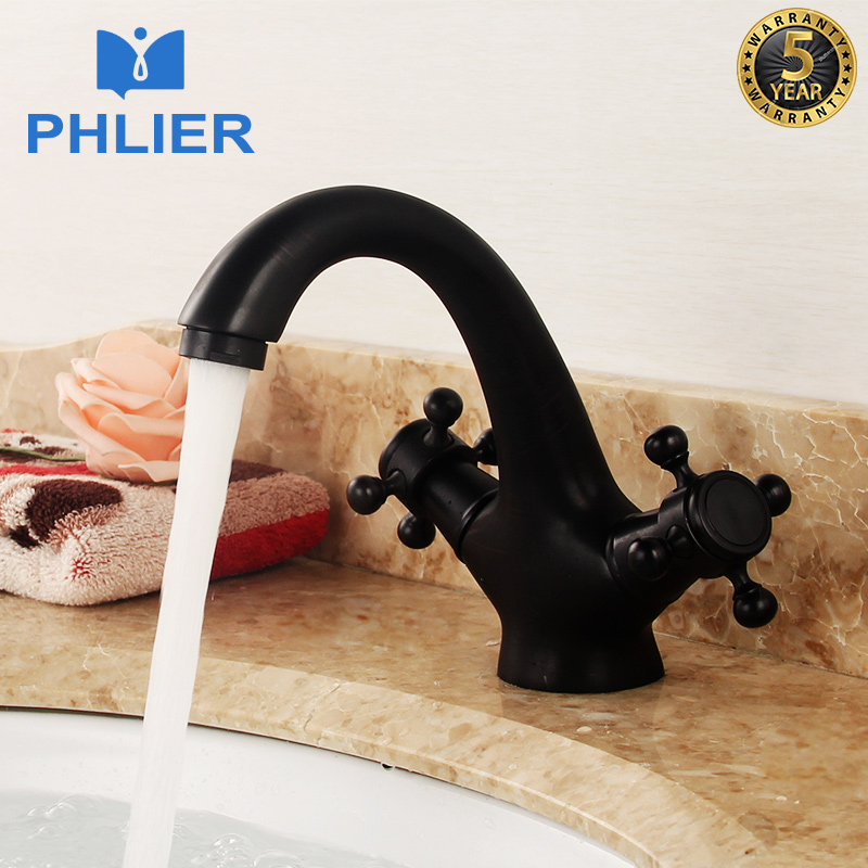 PHLIER Black Bathroom Faucet New Hot Sell Brass Baking Finish Bathroom Mixer Water Tap Dual Handle Cold Hot Basin Faucets B1007