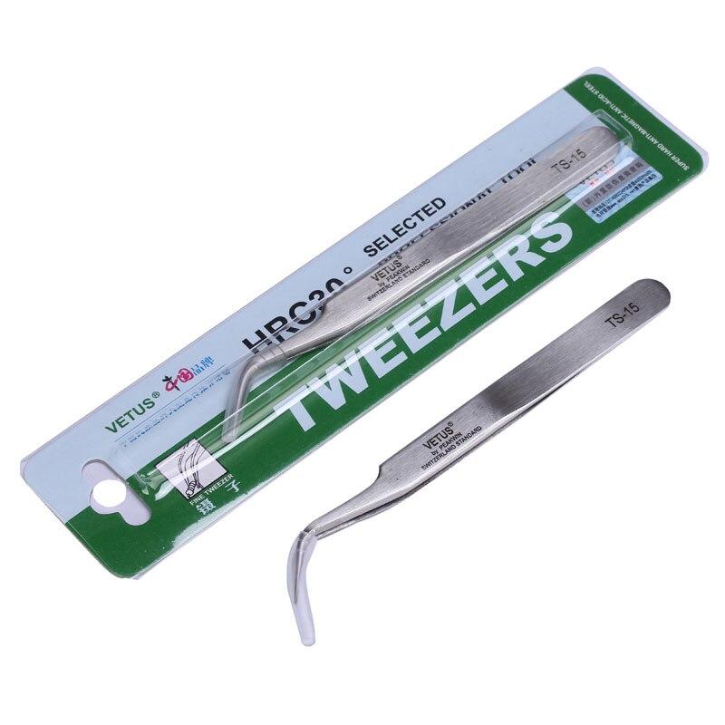 100% Brand Vetus Tweezers Pinzas Stainless Steel Precision Tweezers Herramientas Electrician Hand  Tools TS-15