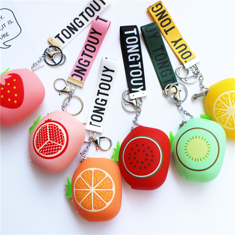 PACGOTH Creative Cartoon Cute Silica Gel Coin Purse Zipper Fruit Prints Kiwi Strawberry Orange Pattern Round with Keyring 1 PC pacgoth creative pvc waterproof cute