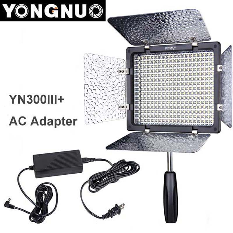 Yongnuo YN300 III YN-300 lIl 3200K-5500K CRI95+ Pro LED Video Light with Remote Control + AC DC Power Adapter for Canon Nikon цена 2017