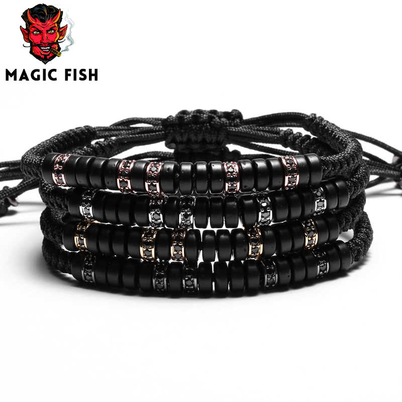 Men Bracelet braided Macrame Bracelet for Women Pave Black CZ Zircon Coconut Shell Adjustable Bracelets Bangles Fashion Jewelry