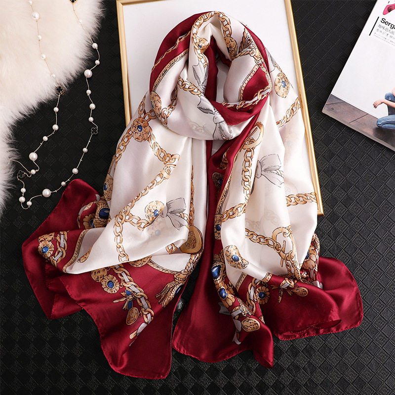 2020 New Brand Winter Scarf Thin Smooth Shawl And Wraps Print Foulard Silk Scarves Ladies Travel Pashmina Long Large Hijab Femme