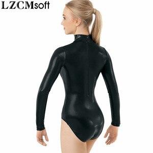 Image 4 - LZCMsoft malla con cuello falso metálica brillante para adultos, maillots de Ballet para actuaciones de gimnasia, manga larga, color negro