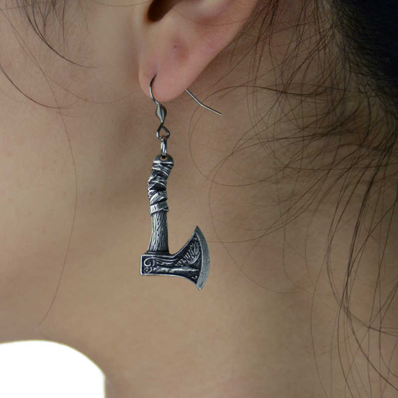1Pair Vintage Viking Axe Earring For Women Amulet Earring Punk Jewelry