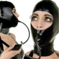 Black Women Latex Hoods Zentai Mask Uniform Fetish Inflatable Gag Hood Latex Sexy Costumes LC065