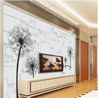 Custom Large Mural 3D Romantic Dandelion Love TV Background Wall Non Woven Wallpaper Papel De Parede