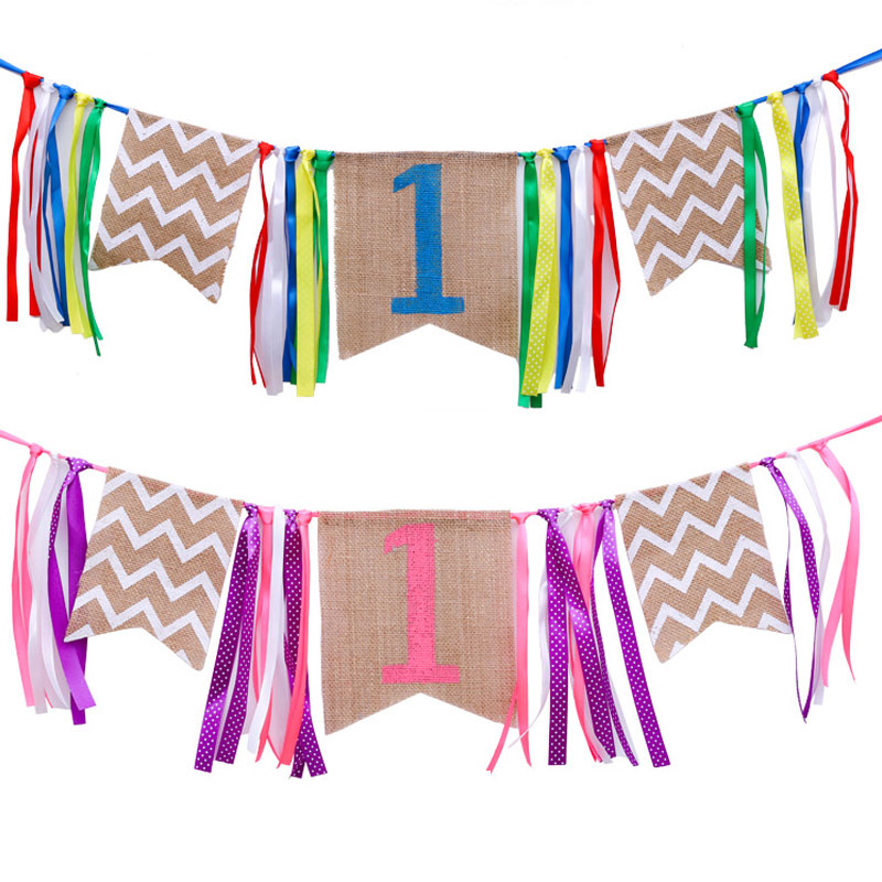 2m Colorful/Pink Bunting Banner Ribbons Banner Flag Burlap Pennant for Baby Shower 1st Birthday Kids Dinner Chair Decor