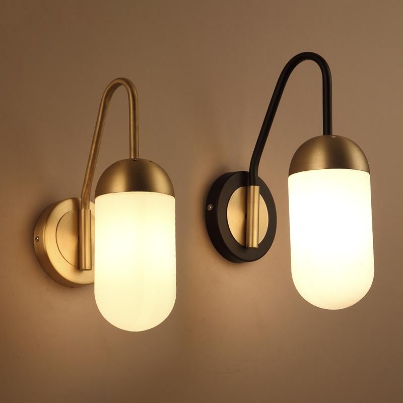 Moderne de chevet led mur lampe de fer or Hôtel salon Nordique verre éclairage moderne escalier mur lampe.