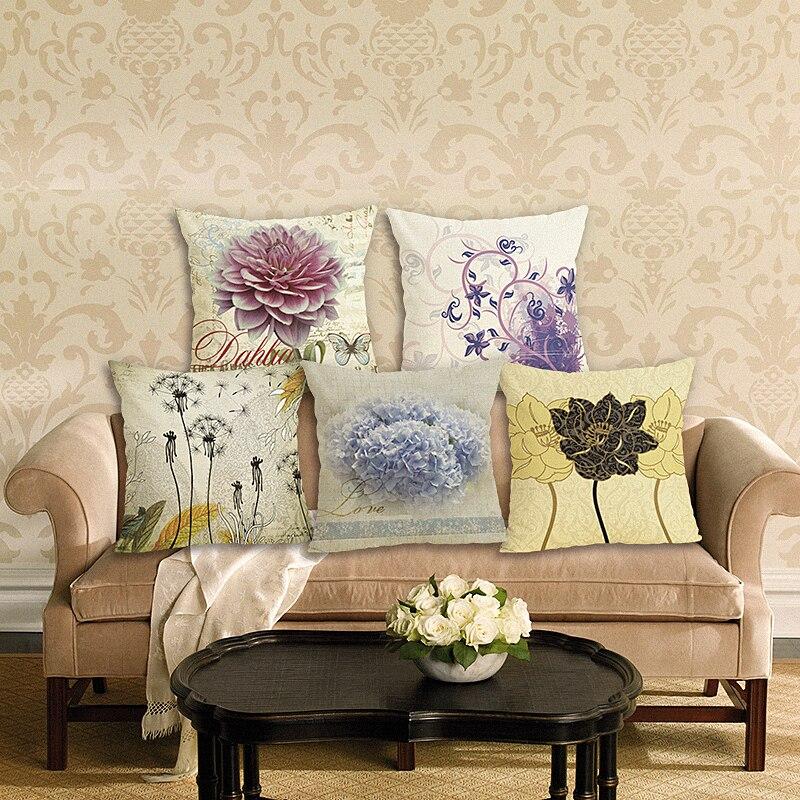 New Home Decor Pillowcase Flowers Cushion Cover Linen Cushion Case Chair Sofa Home Decor Throw Pillow Cover 45x45cm