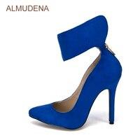 ALMUDENA Royal Bleu En Daim Mince Haute Talon Pompes Bout Pointu Populaire Robe Chaussures Large Boucle Cheville Gladiateur Chaussures Dropship