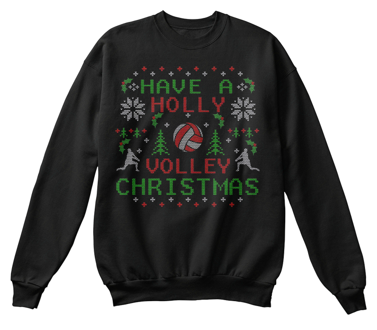 Weezer Christmas Sweater.Holly Volleyball Ugly Christmas Sweater Hoodies T Shirt Men
