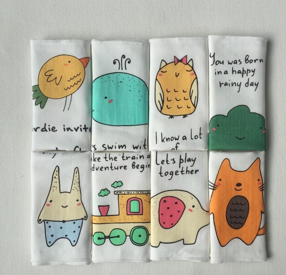 Super Soft Cartoon 100%Cotton gauze 3 layers Newborn Baby small Towel Saliva Nursing Towel Baby Boys Girls Handkerchief 23X30cm