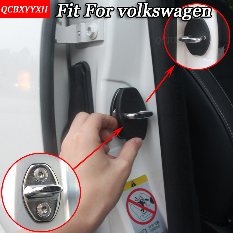 QCBXYYXH Car styling For Volkswagen TIGUAN POLO GOLE SHARAH TOURAN BORA LAVIDA 2008-2018 4pcs/set Car Door Lock Protective Cover