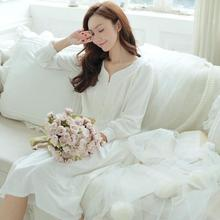 New women Sleep Lounge Lady Sleepwear V-neck Long Nightdress Women White Nightgown cotton Lace Night dress T537