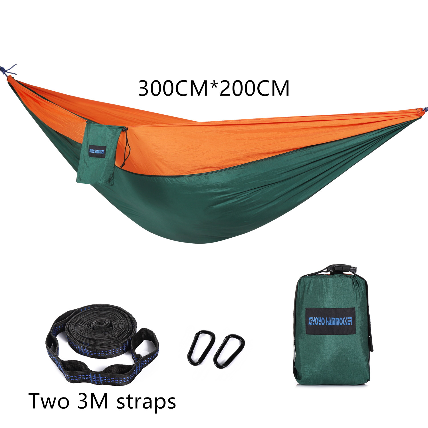 Double Hammock Adult Outdoor Backpack Travel Survival Hunting Bed Straps 2 With 2 Carabiners