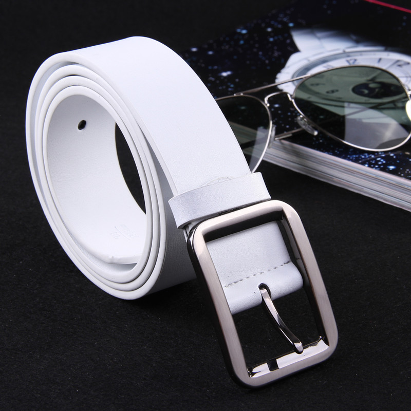 VOHIO 2018   Belt   men 3.8cm wide   belts   genuine leather fashion men's   belt   rectangular   belt   buckle white 5color cinturon wholesale