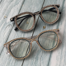 ZAOLIHU Retro Round Diamond Women Sunglasses Clear Lens UV400 Handmade Crystal F