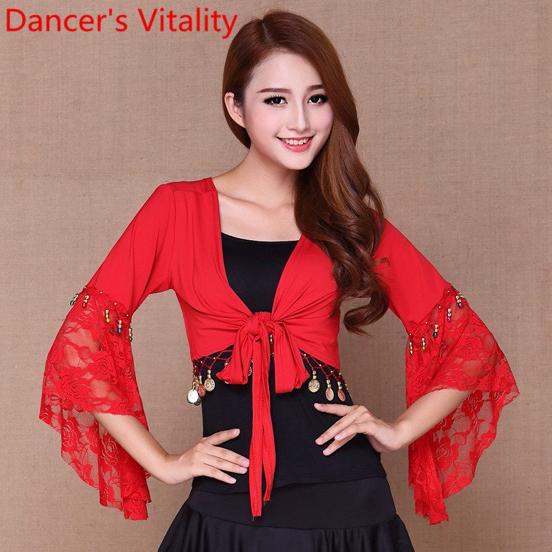 Hot Sale Belly Dance Butterfly Sleeve Lace Wrap Top Of The India Bollywood Girl Top For Christmas For Girls 4XL