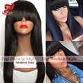 180 Density Silky Straight Synthetic Wigs With Bangs Wholesale Heat Resistant Fiber Hair Wigs For Black Women Smooth straight
