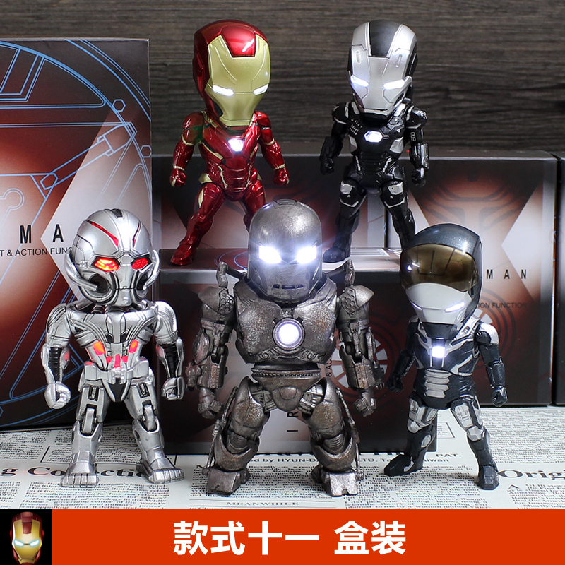 Q Version robot Action Figure Toys With LED Light Car Decoration 5  different in one