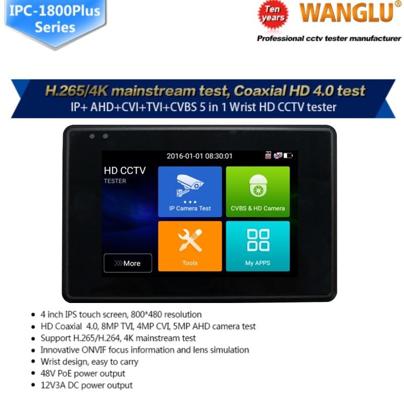 Wanglu plus récent 4 pouces poignet CCTV IP caméra testeur H.265 4 K IP 8MP TVI 8MP CVI 8MP AHD analogique 5-en-1 CCTV testeur moniteur avec WIFI - 2