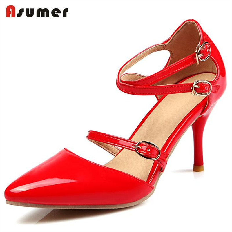 Asumer Summer 2018 hot sale women shoes buckle solid  high thin heels shoes pointed toe  ...